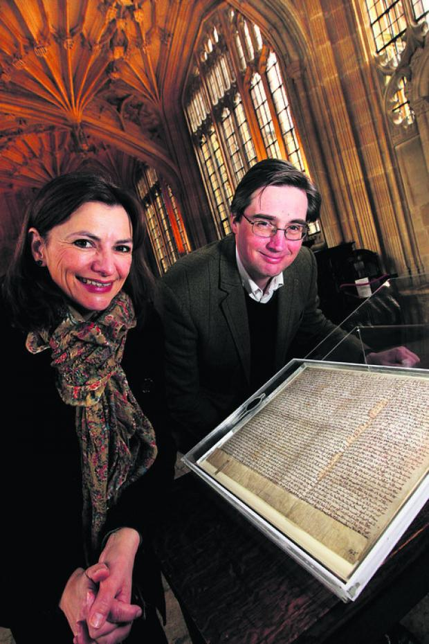 Festival director Sally Dunsmore with the Bodleian's keeper of special collections Dr Christopher Fletcher