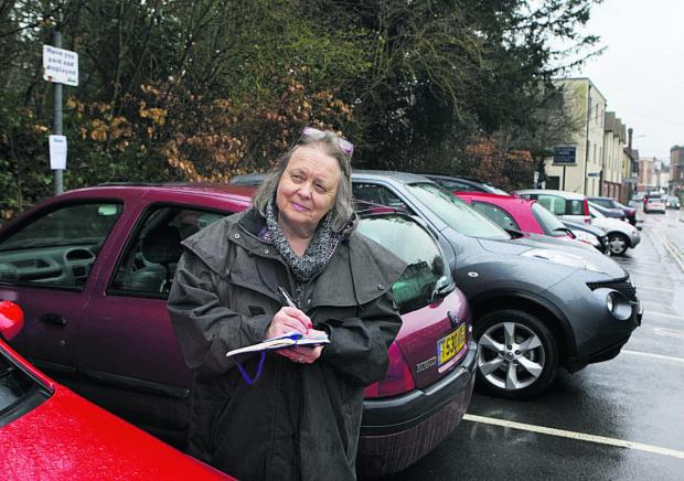 KEEPING TAB: Mayor of Wallingford Ros Lester checks on the parking problems in Castle Street car park
