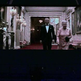 The Queen plays in a video with actor Daniel Craig as James Bond during the London Olympic Games 2012 Opening Ceremony