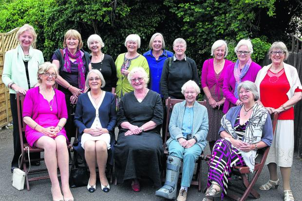 The Oxford Times: Back, from left: Maryann Hargreave, Prue Luget, Carol Hammond, Liz Reavley, Gill Cooper, Hilary Traylen, Maggie Moore, Maureen Fleming, Liz Casamento. Front, left to right: Ronnie Harrison, Nicky Brennan, Sue Buckingham, Marion King and Sandra Middleton
