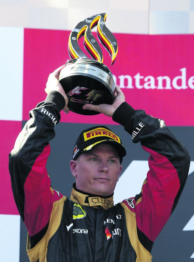 The Oxford Times: Kimi Raikkonen celebrates taking second place in the German Grand Prix yesterday