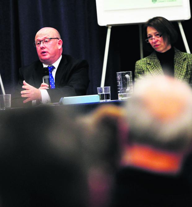 The Oxford Times: Council leader Ian Hudspeth responds to a question, with chief executive Joanna Simons on his right