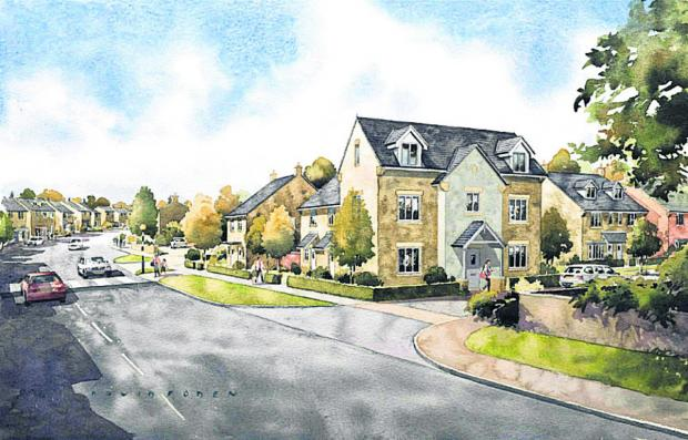 An artist's impression of how the proposed development could look from Oxford Hill
