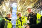 Inside the new atrium with Reg Little, right, the Bodleian's Toby Kirtley, left, and project manager Stewart Basham
