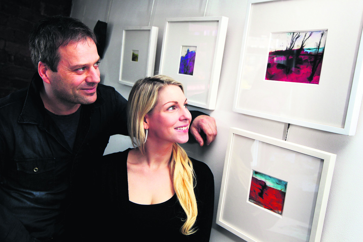 Festival organiser Joelle Dinnage and artist Kieran Stiles at his Folly Bridge studio