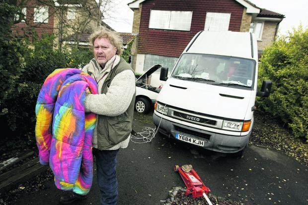 MISERY: David Child has been evicted from his home because he can't pay his mortgage. He is living in the camper van in front of his former home
