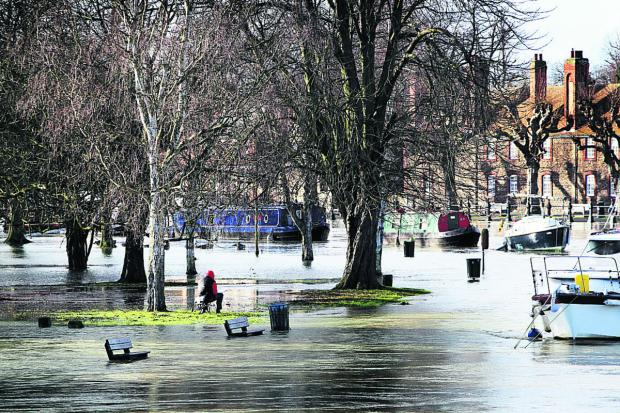 The floodwaters viewed from Abingdon Bridge as the River Thames continues to rise. Picture: Ed Nix
