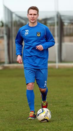 Loan signing Nicky Wroe in training with Oxford United yesterday