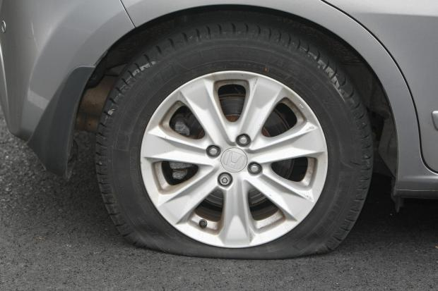 Car tyres have been punctured
