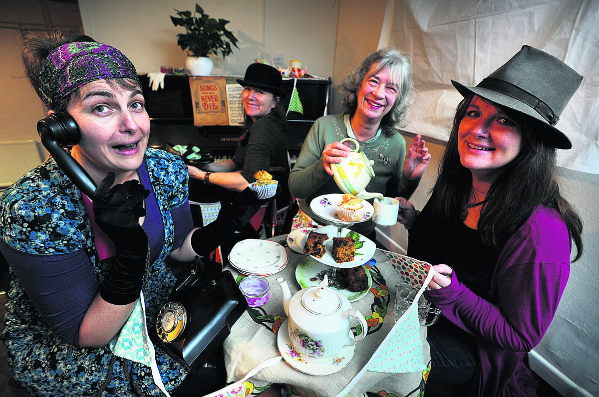 From left: Stella Bell, Emily Marshall, Susan Hallett and Sara Reevell prepare for Saturday's tea dance