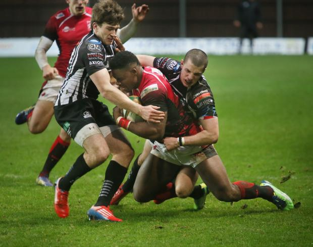 Joe Ajuwa powers on during London Welsh's 26-23 victory over Pontypridd