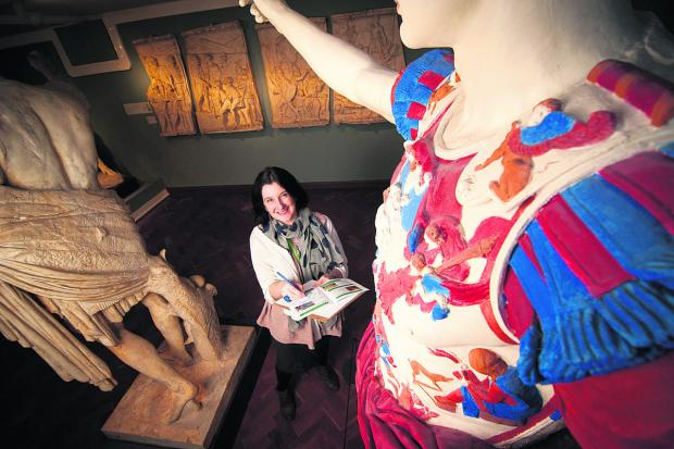 Jo Rice with the museum's painted cast of a Roman statue that features on one of the trails. Picture: OX64636 Andrew Walmsley