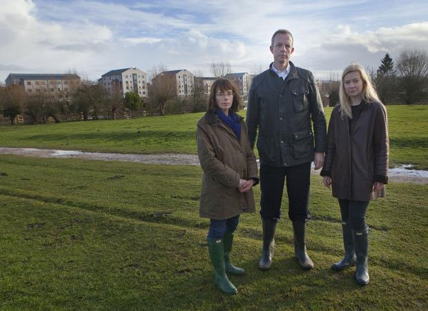 Nicky Moeran, of Save Port Meadow, housing minister Nick Boles and Oxford West and Abingdon MP Nicola Blackwood with the contr