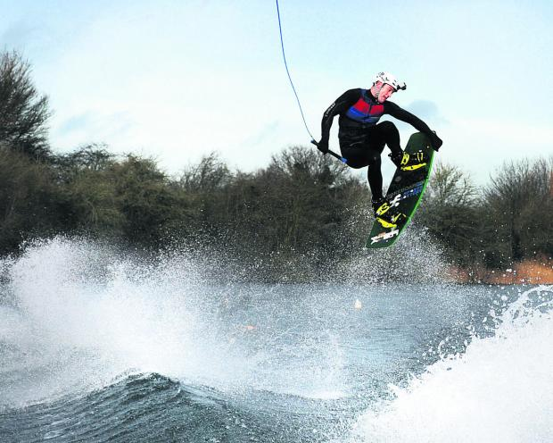 Richard Phillips in action at Oxford Wakeboard and Ski Club in Berinsfield,