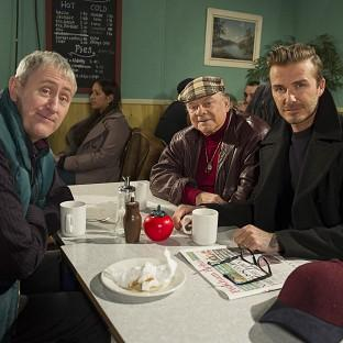David Beckham joins Sir David Jason and Nicholas Lyndhurst for a special Only Fools and Horses sketch reuniting Del Boy and Rodney for the first time in a decade (Comic Relief/PA)