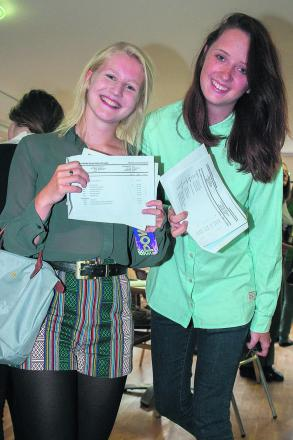 Hannah Duckworth (A*, A, B) and Sophie Holloran  (A*, A, A) above at Headington School in August.