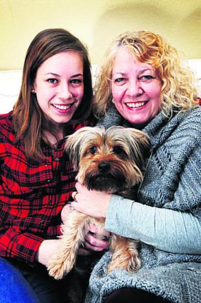 Beth and her mother Michele Poynter with their dog Ollie