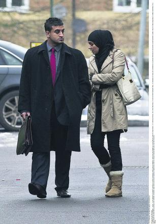 Sugra Hanif, with her solictor, arriving at Aldershot Magistrates Court at earlier hearing last year