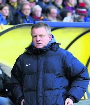 Chris Wilder on the touchline for the last time as Oxford United boss
