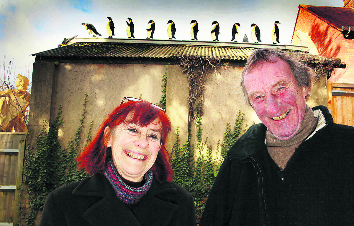 Couple add penguins to East Oxford's skyline in riposte to Bill Heine's Headington shark