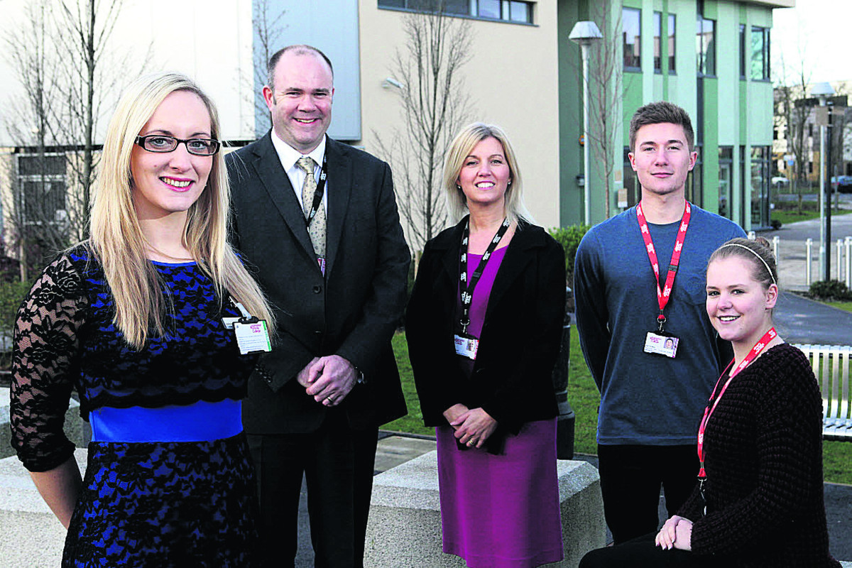 From left, Stephanie Henwood, centre manager of Witney Business & Innovation Centre with Mark Byerley, faculty lead, Jane Phipps, Business Development Executive and business students Joel Spalding and Amy Phillips of Abingdon & Witney College
