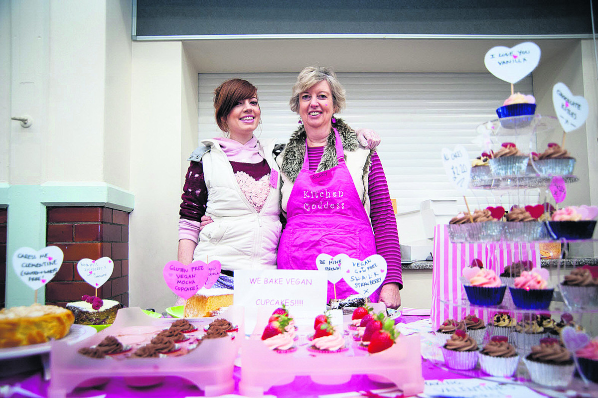 Emma Worthington, left, and Hilary Dollman of Sugar Rush selling some of their Valentine themed cu