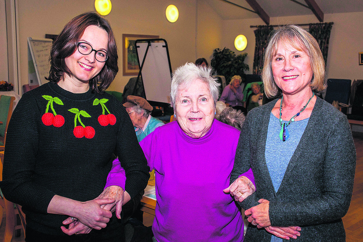 Assistant manager Magadalena Pacholewicz, Margaret Protherough, 84, and care assistant Annie Bignold at the Daybreak Rosewood Club in Blackbird Leys