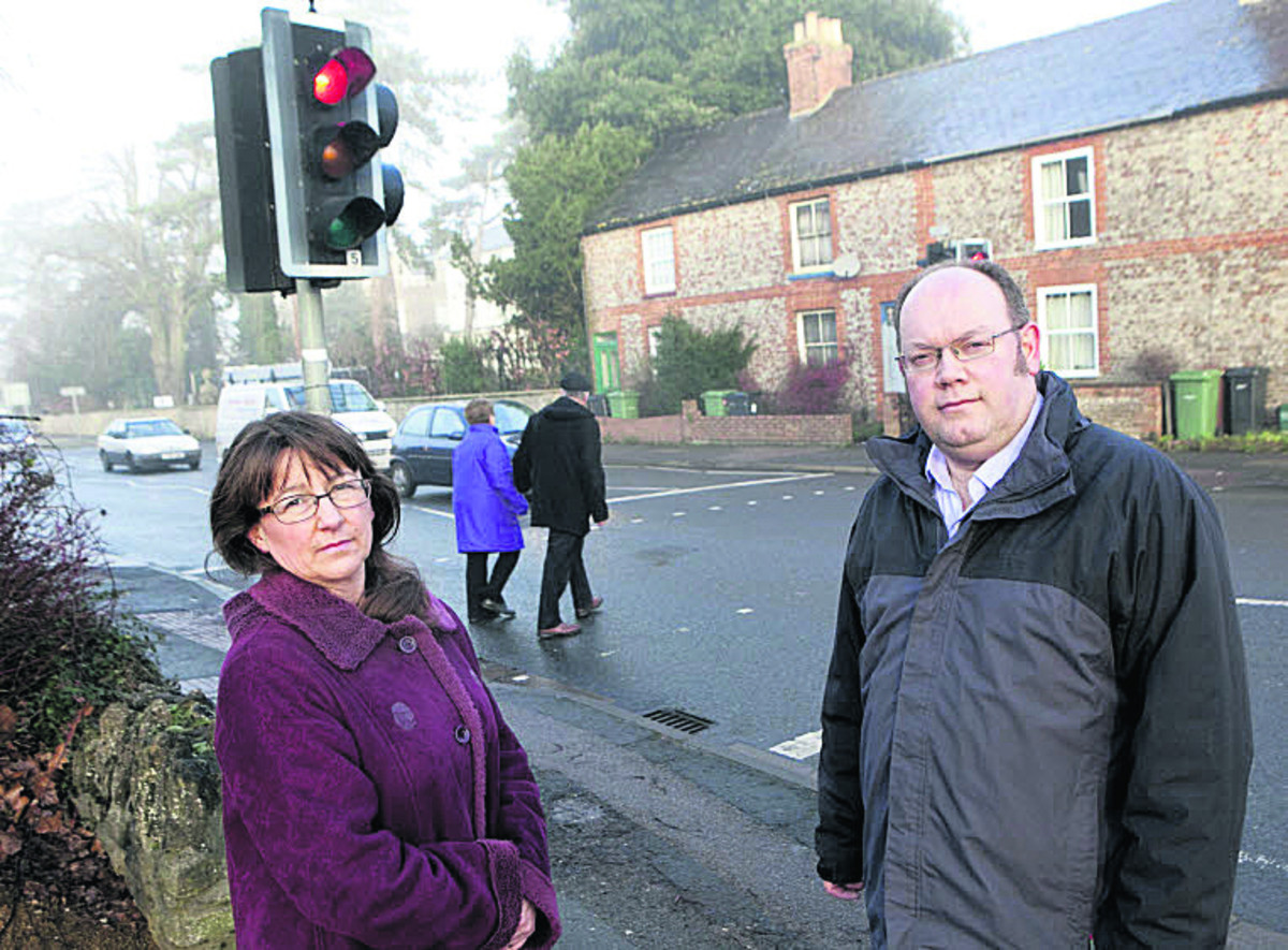 Cllr Samantha Bowring and Cllr Neil Fawcett at the crossing on Marcham Road which could be moved. Picture: OX64771 Antony Moore
