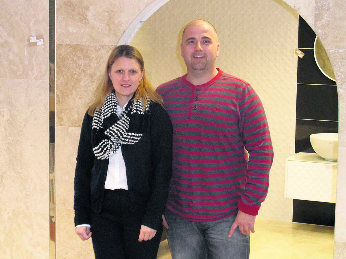 Hazel and Damian Brant, of Azulejos Tiles, based at Grove Technology Park