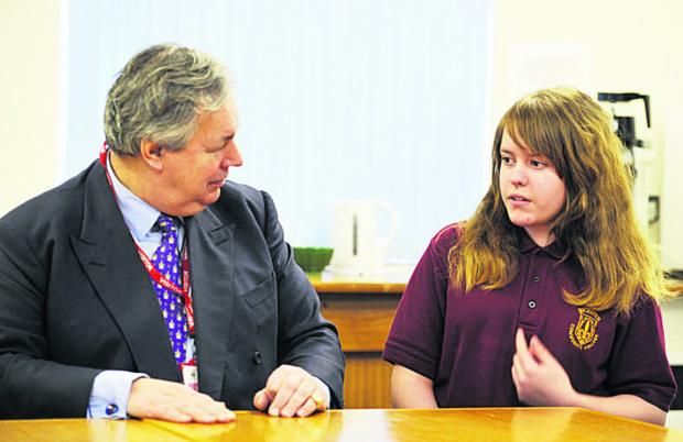 MP Sir Tony Baldry chats with pupil Nerys Feeman, 14. Picture: OX64821 Mark Hemsworth