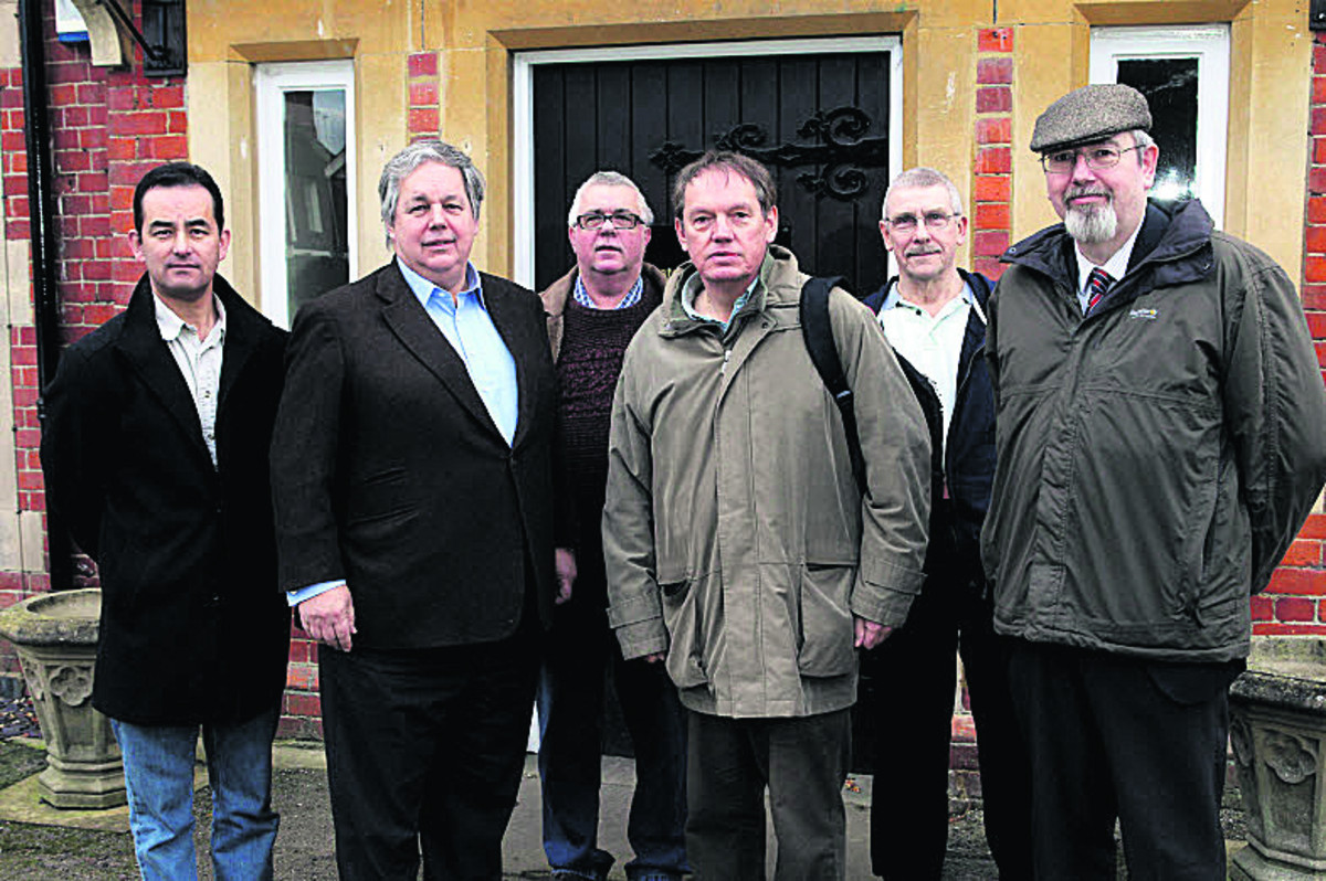 From left: Union rep Phil Hinton, Sir Tony Baldry MP, Harry Knight, union rep, Les Sibley union rep, Terry Slatford, union rep and Barry Wood leader of Cherwell District Council. Picture: OX64010 Ric Mellis