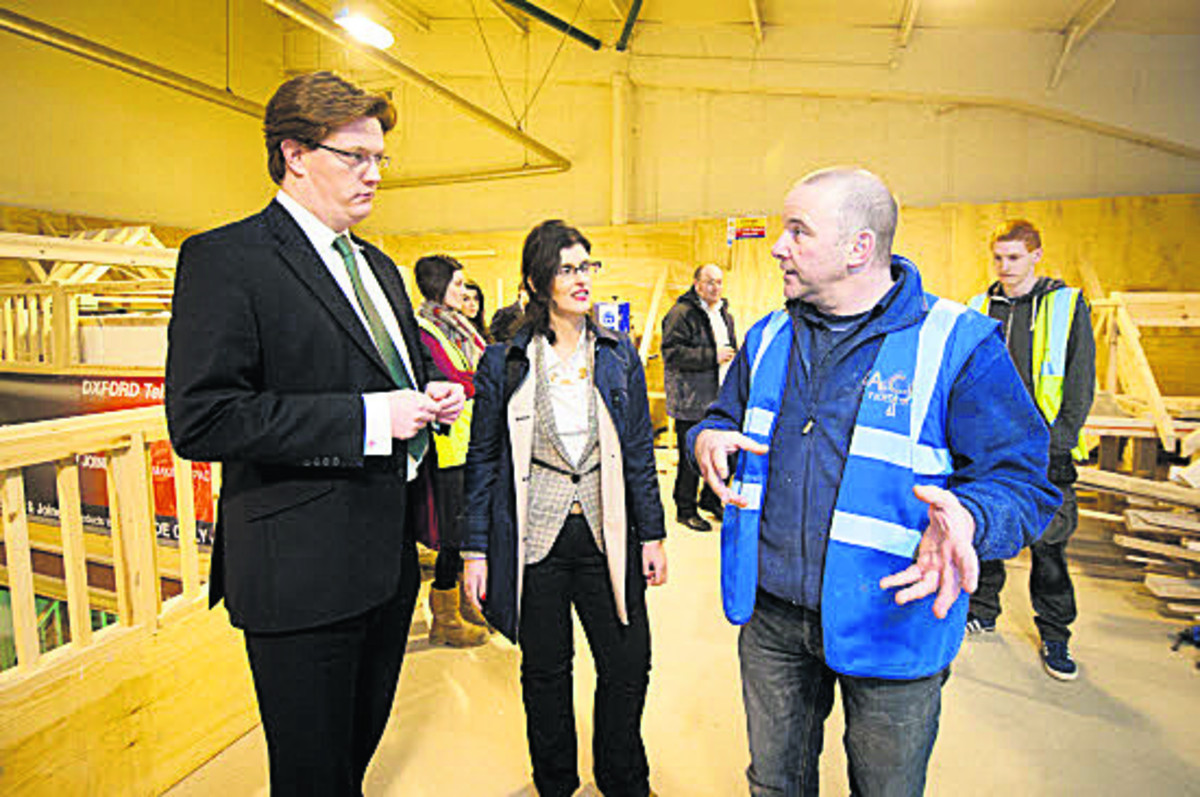 From left, Danny Alexander, Oxford West & Abingdon Lib Dem prospective parliamentary candidate Layla Moran and ACE carpentry tutor Keith Smith
