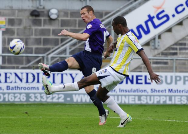 James Constable scoring against Torquay