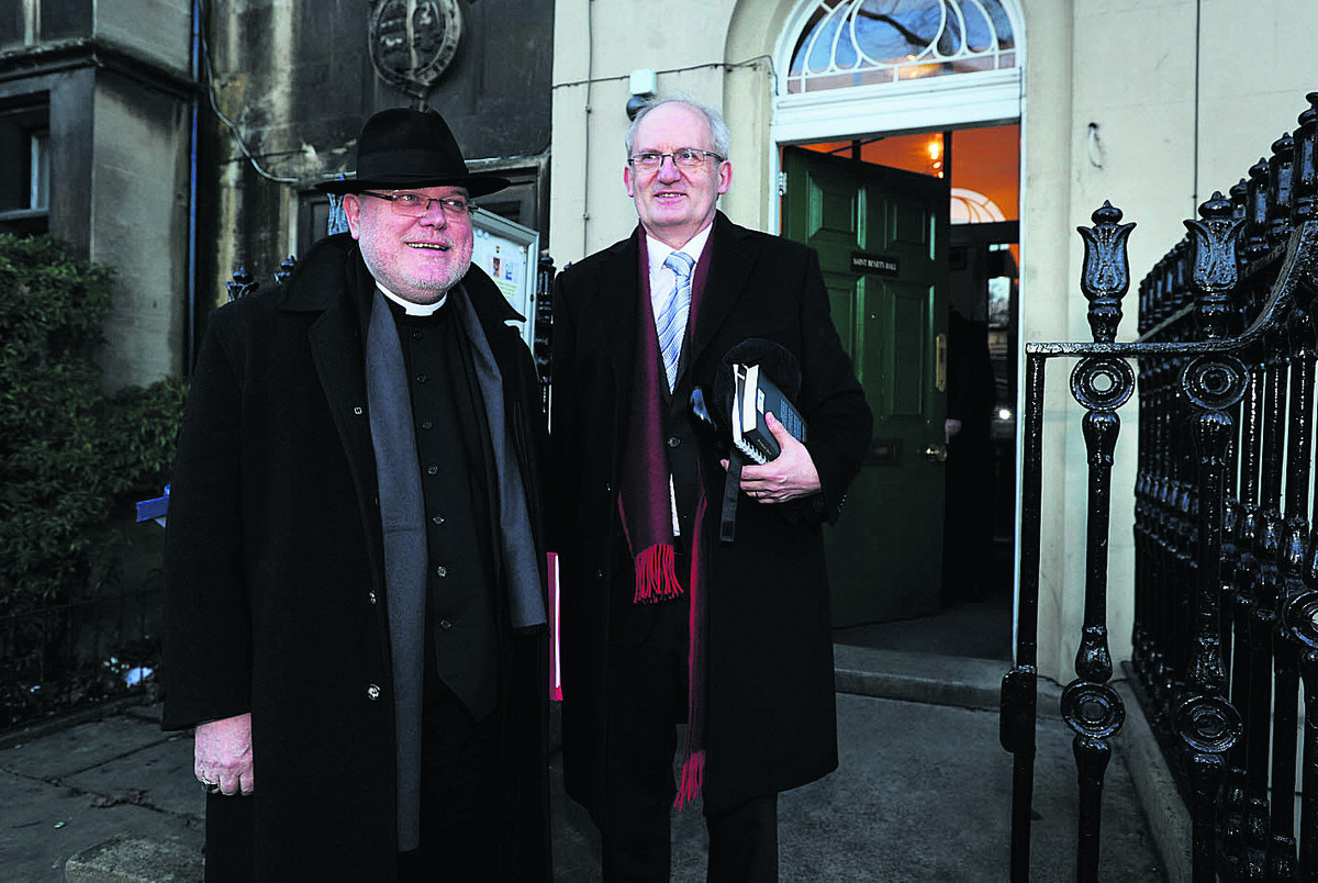 Professor Cardinal Reinhard Marx, pictured left with the Master of St Benet's Hall, Prof Werner Jeanrond
