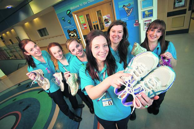 Colette Smith, Emma Johnston, Becky Hughes, Alicia Jones, Emily Ratcliffe and Lisa Howes are some of the trainee children's nurses undertaking the OX5 Run. Picture: OX65236 Andrew Walmsley