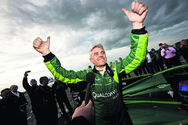 Lord Drayson after breaking the World Electric Land Speed Record