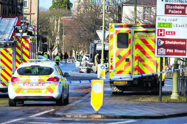 Emergency crews and bomb disposal units in St Giles, Oxford, on February 13