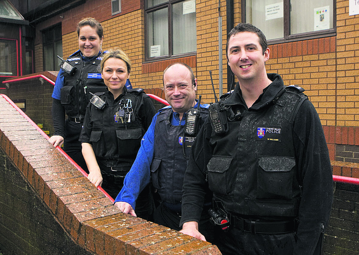 Sgt Martyn Williams, right, is the new head of the Barton neighbourhood police team. Also pictured are Pcso Libbie Stiff, Pc Dawn Evans and Pcso Nigel Pearce
