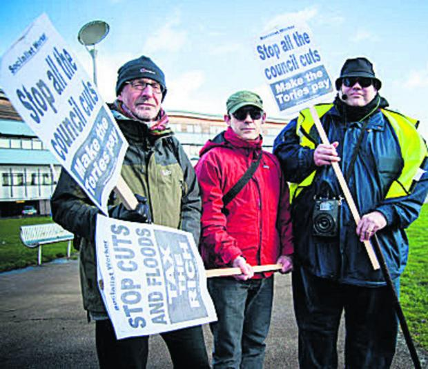 From left, retired teacher Chris Blakey, nurse Ian McKendrick and Dan Fearnley, of Oxford People's Assembly and Unison