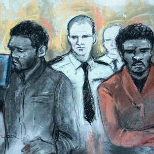 Court artist sketch by Elizabeth Cook of Michael Adebowale and Michael Adebolajo as they were found gui