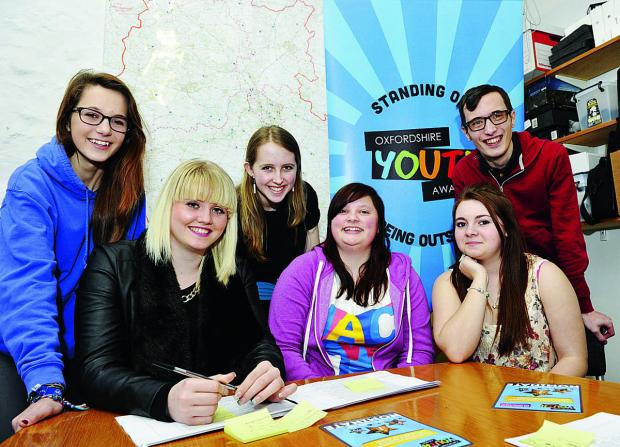 The Oxford Times: The Oxford Youth Awards panel, from left, Pansy Poolman, 15, Becca Cross, 17, Kirsty Rix, 16, Rachel Munday, 17, Courtney Hughes, 16, and Andrew Baker, 25