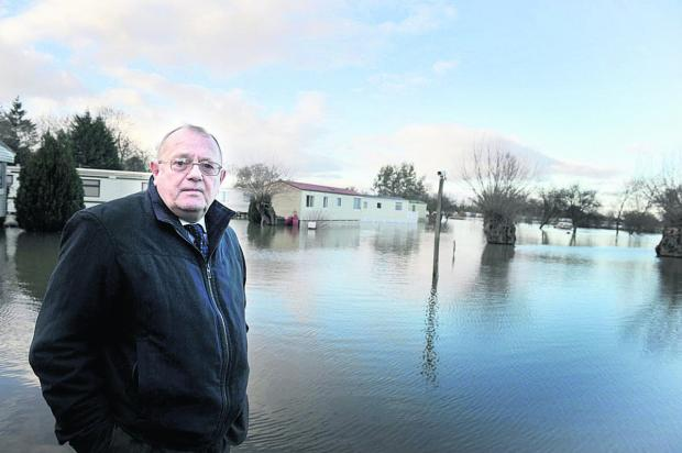 Rodney Rose, deputy leader of Oxfordshire County Council, at Bablockhythe during the recent flooding
