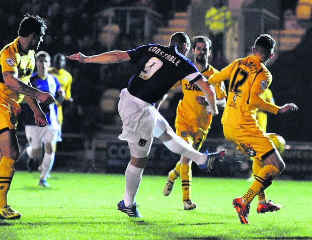 The Oxford Times: James Constable fires Oxford United into an early lead at Newport tonight