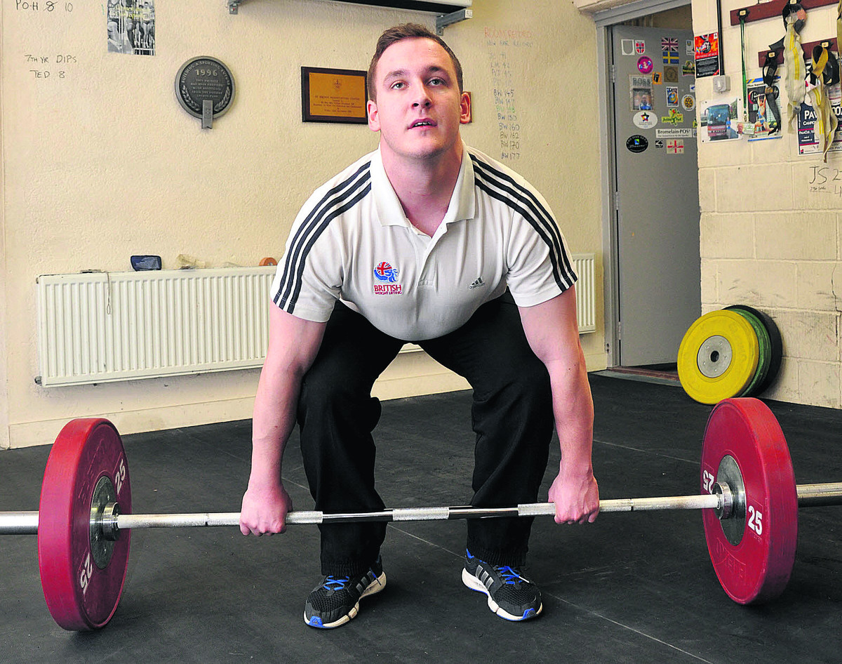 Ben Watson prepares for a lift in training at St Birinus School. The 23-year-old is aiming for the Commonwealth Games