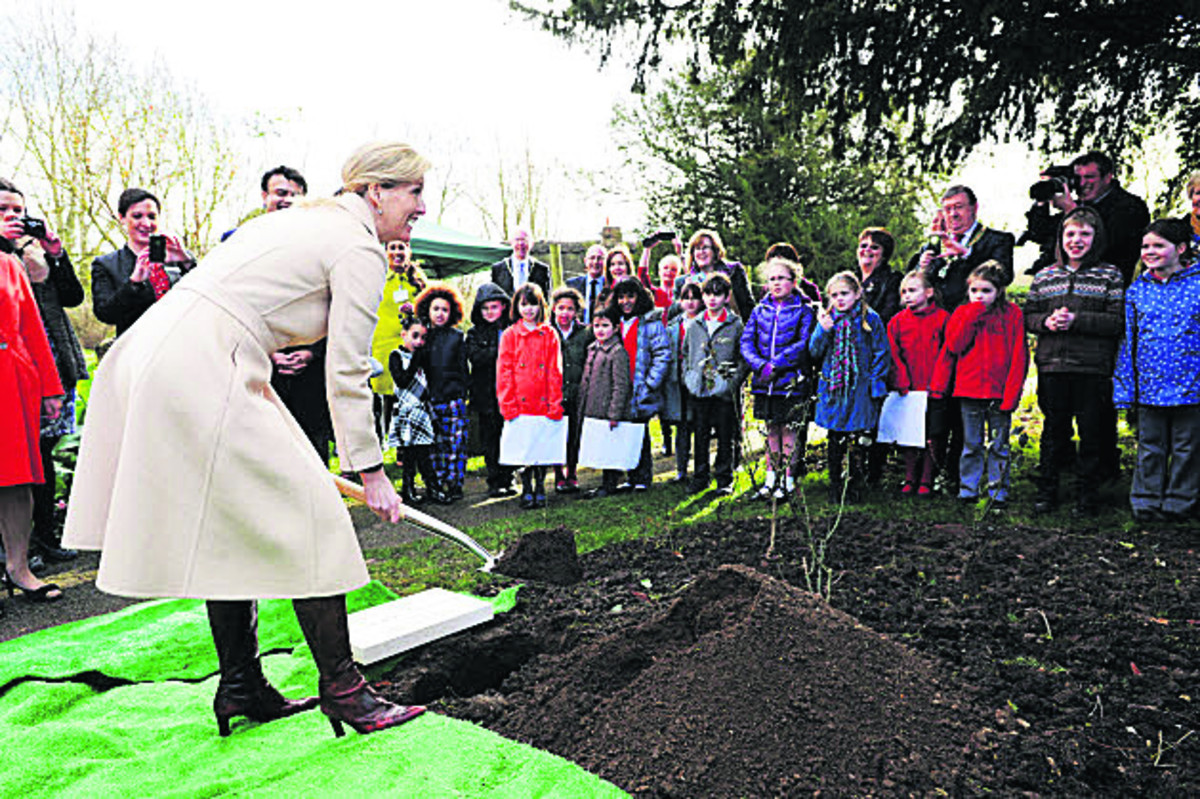 The Countess of Wessex at Dorchester Abbey burying the time capsule
