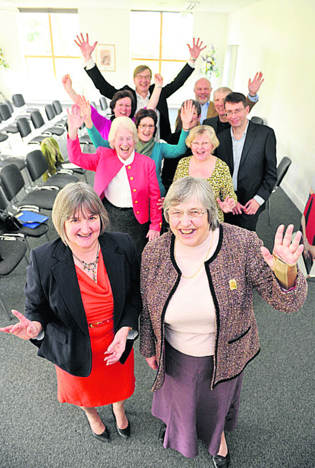 Katherine Worrall, front left, and Lesley Legge, front right, vice-chairman of South and Vale Carers Centre (SVCC) with Guideposts and SVCC members