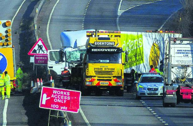 Police and recovery crews at the scene of yesterday's crash, on the A34 southbound, south of Marcham Picture: Greg Blatchford