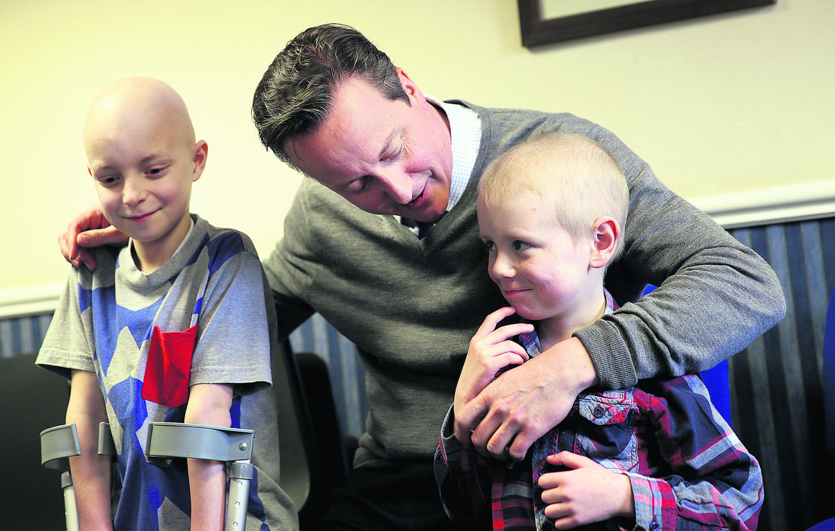 Prime Minister David Cameron meets Oxford Children's Hospital patients Finlay White, nine left, and Zac Dunkin, five