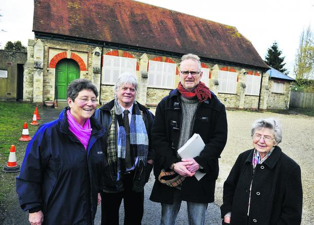 From left, Maggie Willis, Iain Geddes, Julian Armitstead and Pat Good outside Littlemore Village Hall Picture: OX65454 Mark Hemsworth