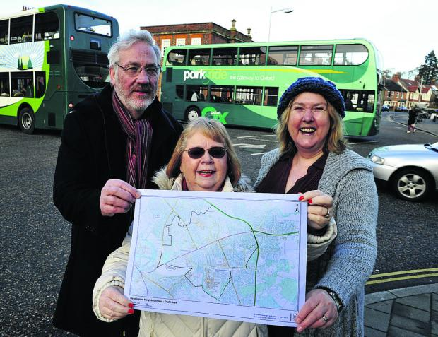 From left, John Nealon, Liz Grosvenor and city councillor Ruth Wilkinson have six weeks to work out the boundaries of Headington for a neighbourhood plan